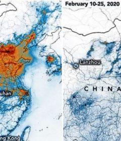 Nivelul de poluare in zona Beijing inainte si dupa raspandirea coronavirusului.